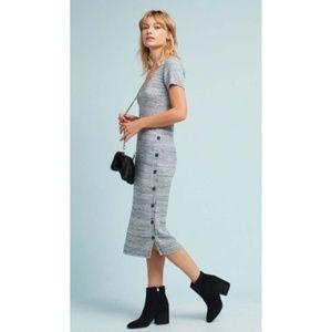 Postmark Grey Knit Ribbed Midi Button Dress Medium